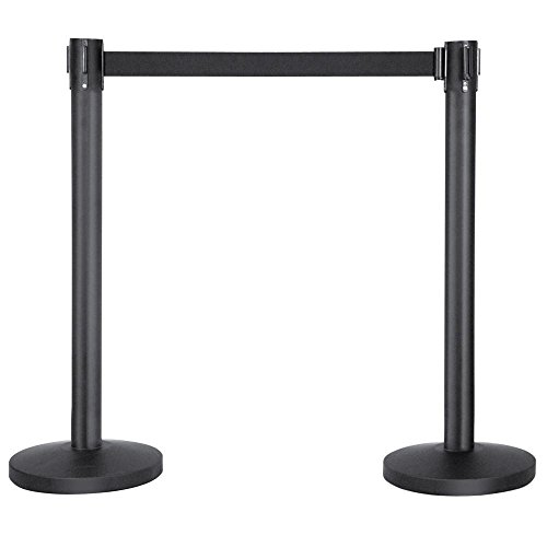 Yaheetech Belt Stanchion Queue Barriers Security Pole Posts Crowd Control Stanchion with 6.5' Retractable Belt Stanchion Set (Control Crowd)