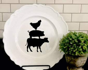 (Decal Only-Farmhouse Decal -Cow Pig Chicken Vinyl Decor- Rustic Decor- Farmhouse- Kitchen Various Sizes- DIY Lettering)