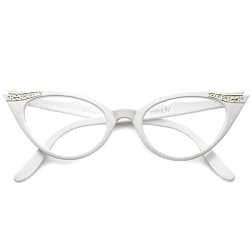 zeroUV - Vintage Cateyes 80s Inspired Fashion Clear Lens Cat Eye Glasses with Rhinestones - Glasses Cateye