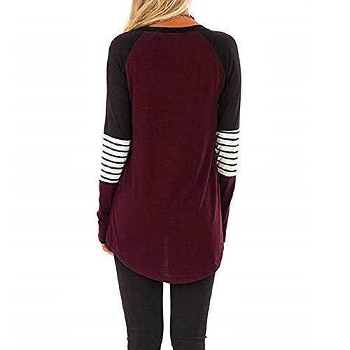 Stripe shirt Women Sans Wine Manches Femme Blouse Casual Longues T Moretime Block À Color 1wUxqd5CY