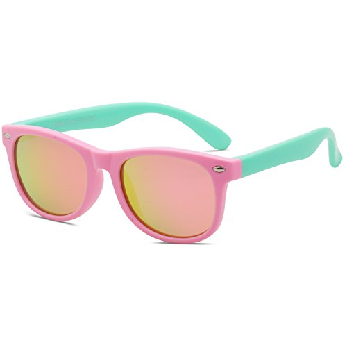 SojoS Kids Flexible Rubber Kids Polarized Wayfarer Sunglasses Age 3 to 12 SK205 With Pink Frame/Pink Mirrored - Sunglasses Best Kids