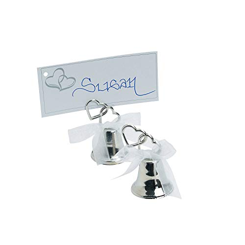 Fun Express - Silver Wedding Two Heart Bell for Wedding - Party Supplies - Favors - Placecards And Holders - Wedding - 12 Pieces