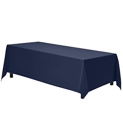 Gee Di Moda Rectangle Tablecloth - 90 x 132 Inch - Navy Blue Rectangular Table Cloth for 6 Foot Table in Washable Polyester - Great for Buffet Table, Parties, Holiday Dinner, Wedding & More