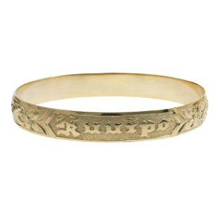 Bracelets Heirloom Gold (Hawaiian Heirloom 14K Yellow Gold Custom Ku'uipo 10mm Raised Bracelet (8.5 Inches))