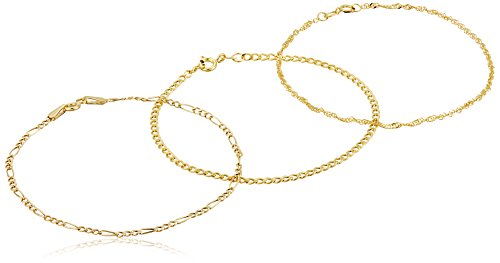 14k Yellow Gold Figaro, Curb And Twisted Curb Bracelet Set, 7″