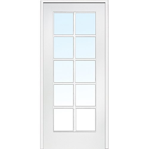 "National Door Company Z019948R Primed MDF 10 Lite Clear Glass, Right Hand Prehung Interior Door, 24"" x 80"""