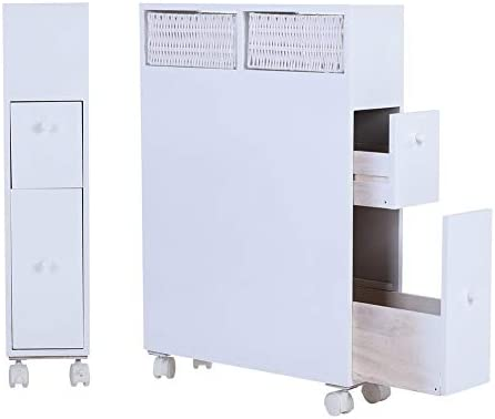 Bathroom Cabinet Tall Bathroom Wooden Cabinet Toilet Floor Wheels Storage Oraganizer with 2 Drawers White