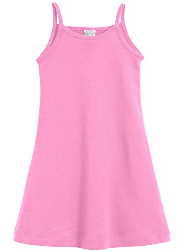 City Threads Little Girls' Summer Dress Cami Camisole Spaghetti Strap Maxi Slip No Sleeve Dress For Sensitive Skin or SPD Sensory Friendly, Bubblegum Pink, 3T -