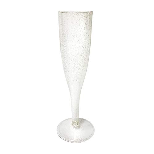 Party Essentials N052452-2 Hard Plastic One Piece 5 oz. Champagne Flutes Box Set, Gold Glitter (Case of 48)