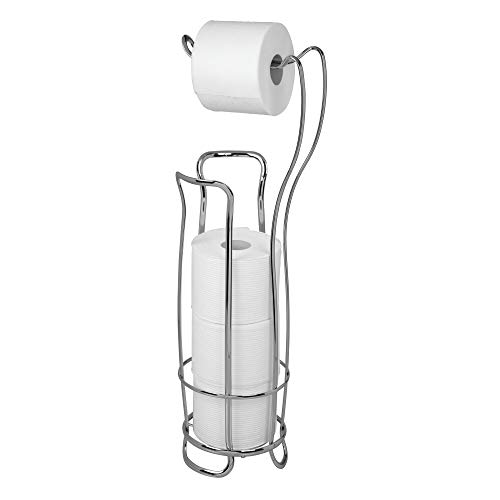 InterDesign Axis Free Standing Toilet Paper Holder - Extra Toilet Roll Storage for Bathroom, Chrome