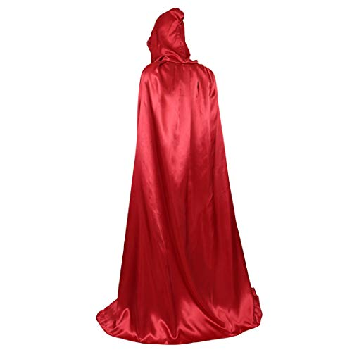 Full Length Unisex Tunic Hooded Robe Cloak Adult Halloween Costume Cosplay Capes Red-XL