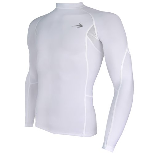 """CompressionZ Long Sleeve Thermal Top Compression T Shirt, Large 41.5""""-44"""" - White"""