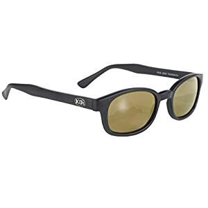 Pacific Coast Original KD's Biker Sunglasses (Black Frame/Gold Mirror Lens)