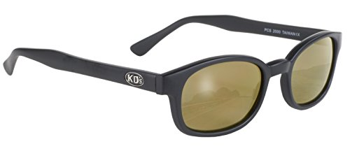 Pacific Coast Original KD's Biker Sunglasses (Black Frame/Gold Mirror - Sunglasses Tough