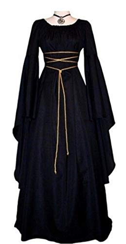 NIUBIA Womens Deluxe Medieval Renaissance Costumes Halloween Cosplay Dress Waist Tie Irish Over Victorian Retro Gown (2X-Large, Black)