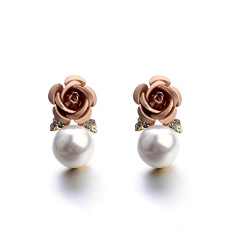(Paymenow Womens Girls Bohemia Earrings Fashion Summer Rose Pearl Circle Ear Clip Nice Jewelry (Begie))