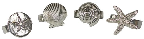 (Pewter Seaside Seashell Starfish Napkin Rings Set of 4)