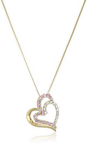 10k Yellow Gold Necklace with Pink Sapphire and Diamond Heart Pendant, 18