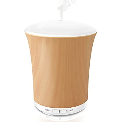 Aromatherapy Essential Oil Diffuser 200ML Ultrasonic Aroma Mist Portable Humidifier With Auto Shut-off & 8 Color LED Lights for Home Office Baby Bedroom Yoga Spa - LUSCREAL Wood Grain Gift Set