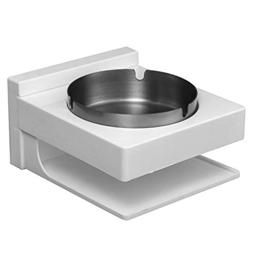 LOVEER Stainless Steel Bathroom Ashtray Wall Mount wth Storage, Outdoor Ash Bin Smoking Tray for Smoker 5 x 5 x 3 Inch (Cube Silver)