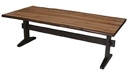 Trestle Farm Table - Burnham Live Edge Dining Table with Trestle Base Natural Honey and Smokey Black