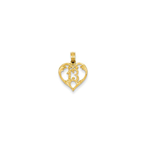 Roy Rose Jewelry 14K Yellow Gold 13 in Heart Cut-out - Pendant Out Cut Rose