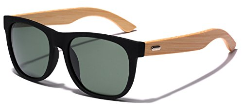 Polarized Classic Horn Rimmed Sunglasses with Bamboo Wood - Glasses Sun Bamboo
