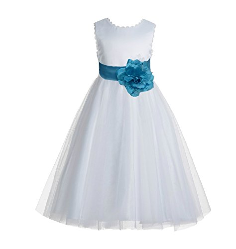 ekidsbridal V-Back Lace Edge Ivory Flower Girl Dresses Turquoise Baptism Dress Birthday Girl Dress Ball Gown 183T -