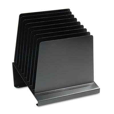 Steelmaster - Slanted Vertical Organizer Eight Sections Steel 11 X 9 1/4 X 12 Black ''Product Category: Desk Accessories & Workspace Organizers/Sorters''