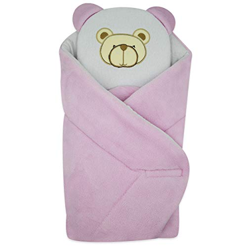 BlueberryShop Hooded Fleece Warm and Cute Swaddle Wrap//Blanket for Baby White
