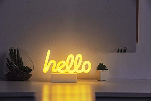 Merkury Innovations 8' inch LED Neon Yellow'Hello' Sign, Night Light, Mood Light with Pedestal,Battery Operated Wall Art,Bedroom Decorations,Lamp,Home Accessories,Party and Holiday Decor:Neon Yellow