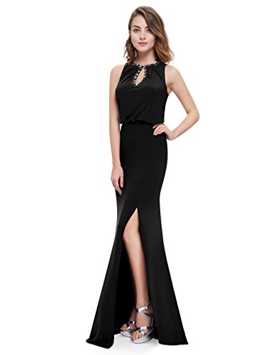 Ever-Pretty Damen Elegant Schlüsselloch Ausschnitt Lang Ball Kleid 08383 Gr. 6, Schwarz - Schwarz