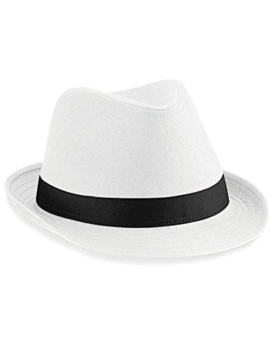 Beechfield Unisex Fedora Hat (L/XL) (White/Black) -