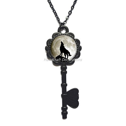 Howling Wolf Key Necklace Wolf Key Pendant Wolf Jewelry Gift for Women Gift for her Gift for Man Handmade Key Necklace Gift idea Halloween Gift.F104