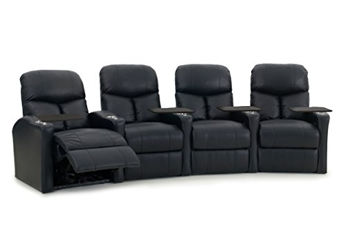 Octane Seating BOLT-R4CP-BND-BL Octane Bolt XS400 Motorized Leather Home Theater Recliner Set (Row of 4) by Octane Seating