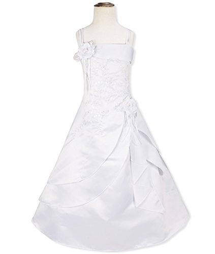 Ygosoon 4-14Y Kids Girls Embroidered Flower Bow Formal Party Ball Gown Prom Princess Children Dress for Bridesmaid Wedding White (Princess Leia Wedding Dress)