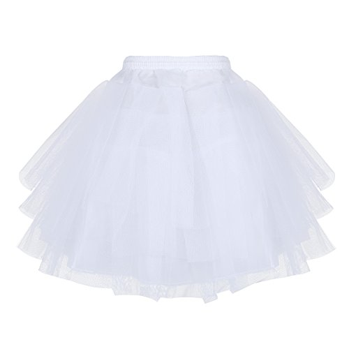 iEFiEL Girls 3 Layers Net Petticoat Underskirt Crinoline Slip for Flower Girls Wedding Dress White One -