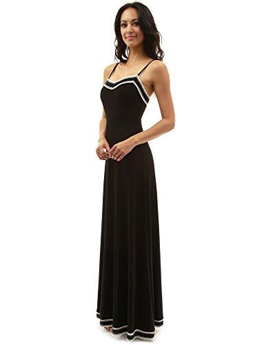 PattyBoutik Women's Spaghetti Strap Trim Maxi Dress