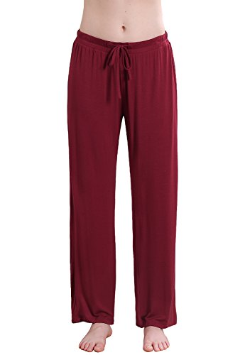 Vislivin Women's Stretch Knit Pajama Pants Modal Sleep Pant Wine Red Wide L - Flannel Womens Sleep Pant
