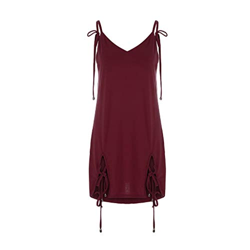 PENGYGY Woman Backless Dress Halter Neck Backless Skirt Solid Chiffon Strappy Beach Club Dress Wine]()