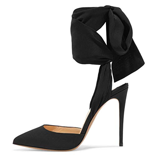 FSJ Women Strappy Ankle Wrap Sandals Pointed Toe High Heels D'Orsay Slingback Pumps Shoes Size 9 Black ()