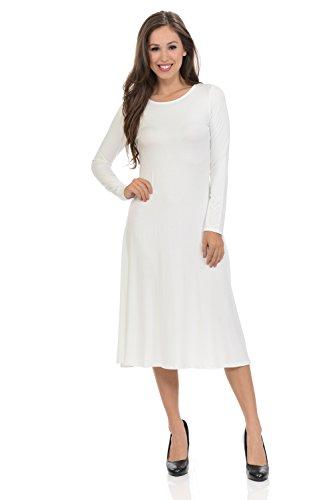 iconic luxe Women's Long Sleeve A-Line Midi Dress Medium Ivory