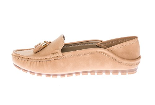 Moccasins KIKI Casual Accent on Nubuck CALICO Slipper Women's Loafers Comfort Slip Tassel Leather Beige Flats v1dAwd
