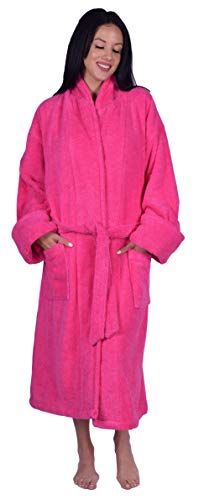 - Terry Shawl Collar Unisex Robe, 100% Turkish Natural Soft Cotton, Made in TURKEY (Hot Pink),One size 48