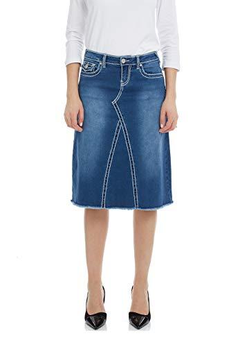 Esteez Women's Denim A-Line Skirt - Contrast Stitch Victoria Classic Blue ()