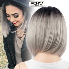 FCHW WIG Hot Sale Bobo Wig Ombre Short Straight Feminine Wig Black to Gray Hairther Gradient Glamour Ms. Wig 11.8in Dark Root Soft Touch Wig Heat Resistant Synthetic Wig for Costume Party