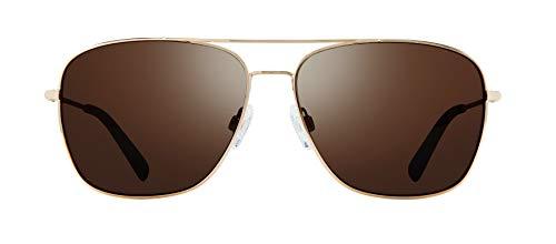 Revo Men's Polarized Sunglasses Harbor Navigator Frame 60 mm Aviator, Gold, Terra (Revo Aviator)