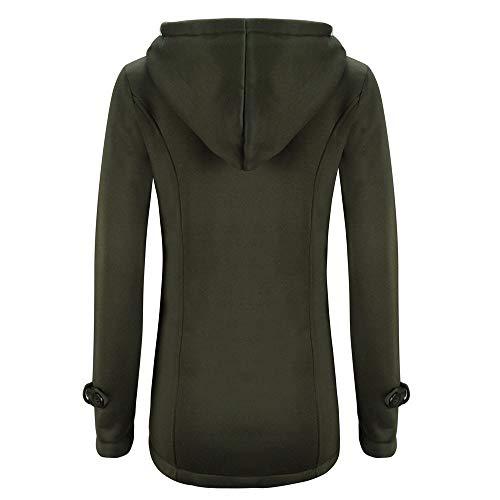 Veste shirt Sweat Chaud Armée Guesspower À Hoodie Femme Automne Capuche Polaire Bouton Verte Zippé Long Manteau Hiver X7xn75Rq