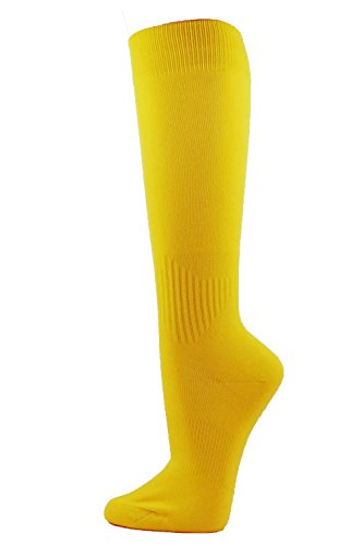 Couver Unisex Polyester Soccer Knee High Socks Sports Team Socks (Medium, Yellow)