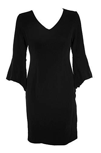 Inc International Concepts Deep Black Textured Bell-Sleeve V-Neck Sheath Dress from INC International Concepts